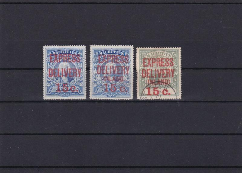 MAURITIUS EXPRESS DELIVERY STAMPS  1903 -04  ON STOCK CARD   . REF 4185