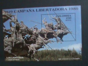 COLUMBIA 1989-SC# C806  LOS LANCEROS-HUMAN RIGHTS-FAMILY - MNH :S/S VERY FINE