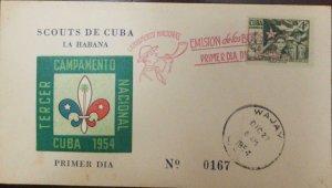 A) 1952, CUBA, BOYSCOUTS, FDC, THIRD NATIONAL CAMP HAVANA