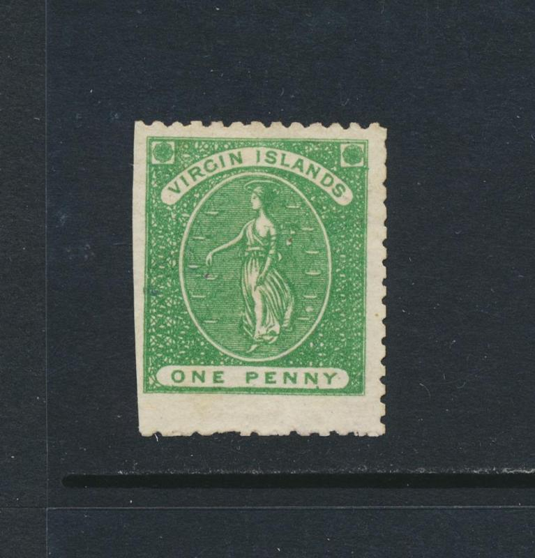 BRITISH VIRGIN IS 1866, 1d NO WMK P12 VF UNUSED SG#1 (SEE BELOW)