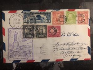 1929 Miami USA First Flight cover FFC To Us Consulate Asuncion Paraguay