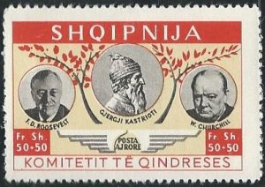 Albania cinderella (mh) 50+50fr shq FDR, Churchill, red org & lt org (c1952)
