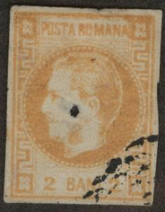ROMANIA Scott 33 used 1868 Prince Carol CV$40 Note Hole