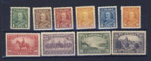 10x Canada MH Stamps;  #217 To #226, Mostly VF.  Guide Value = $91.00.