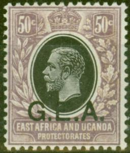 Tanganyika G.E.A 1921 50c Black & Dull Purple SG65 V.F Lightly Mtd Mint