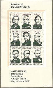 United States #2217 22c Presidents of the U.S.: II MNH sheet of 9 (1986)