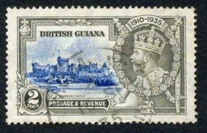 British Guiana SG301h 1935 2c Ultramarine and Grey Dot by Flagstaff Used