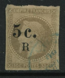 Reunion 1885 5 centimes on 30 centimes used
