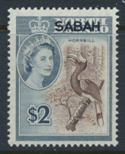 SABAH Opt on North Borneo  SG 421  SC# 14 MVLH Hornbill Bird see scans /details