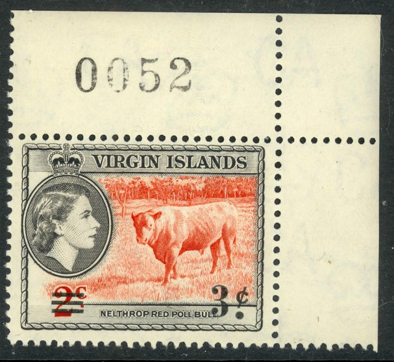 BRITISH VIRGIN ISLANDS 1962 3c on 2c BULL Surcharged SHEET No. Single Sc 130 MNH