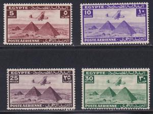 Egypt # C34-37, Plane over Pyramids, NH, 1/2 Cat.