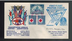 1943 Honduras TACA Airlines First Flight Cover FFC to Miami USA