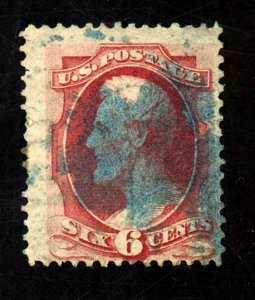 137A USED FINE BLUE CANCEL Cat $950