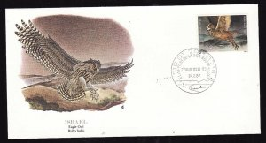 Flora & Fauna of the World #208b-Israel-Birds-Eagle Owl-FDC with  single stamp a