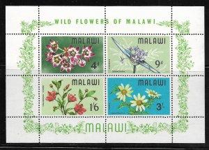 MALAWI, 86A, MNH, SS OF 4, WILD FLOWERS