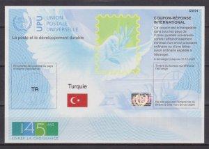 TURKEY - 2018 UPU INTERNATIONAL RESPONSE COUPON EXP. DATE 2021 - MINT