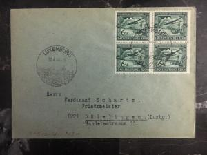 1944 Luxembourg Germany Cover To Dudelange 25 Years Of Luftpost Stamps Green