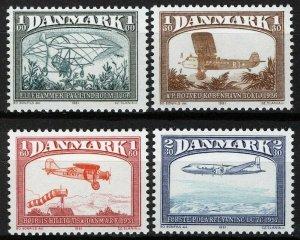 Denmark 1981, Aviation, Airplanes set VF MNH, Mi 740-743