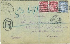 01300 - MALTA - POSTAL HISTORY: REGISTERED COVER TO LONDON 1898