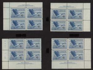 Canada - 1952 7c Canada Goose Ovpt. G Plate Blocks mint #O31