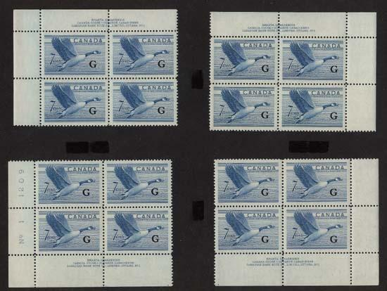 Canada - 1952 7c Canada Goose Ovpt. G Plate Blocks mint #O31