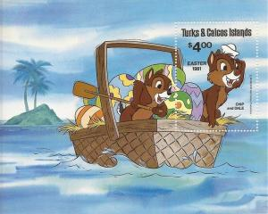 Turks & Caicos - 1981 Disney Chip & Dale - Souvenir Sheet - Scott #480