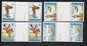 Bermuda Sc 453-56 1984 Olympics stamp set gutter pair mint NH