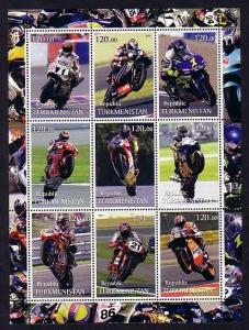 Turkmenistan, 2001 Cinderella issue. Motorcyclists sheet.