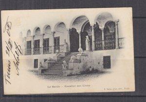 TUNISIA, 1902 ppc. Staircase of Lions,  Bardo, 5c. Tunis to Austria.