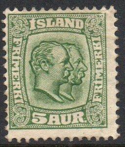 Iceland  Sc 74 1907 5 aur green 2 Kings stamp mint