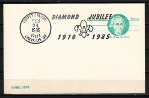 United States, 24/FEB/85. Scout Diamond Jubilee cancel on a Postal card.