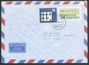 GERMANY 1989 airmail cover to New Zealand - nice franking..................11272