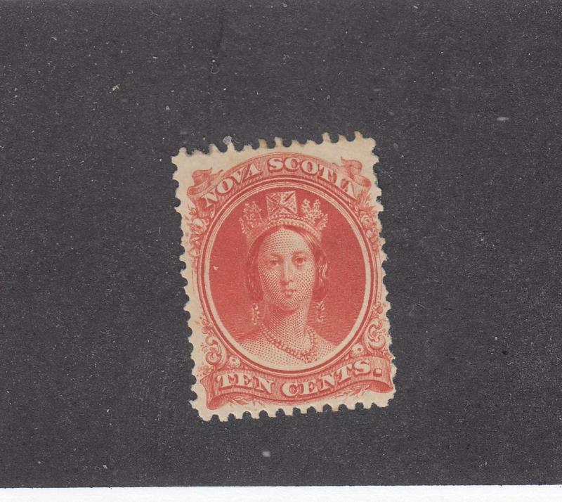 NOVA SCOTIA # 12 FVF-MH  10cts QUEEN VICTORIA VERMILION CAT VALUE $15