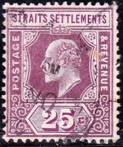 MALAYA STRAITS SETTLEMENTS 1909 KEVII 25 Cents Dull & Bright Purple SG161 VFU