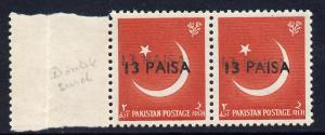 Pakistan 1961 surcharged 13p on 2a horiz pair with surcha...