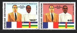 Central African Republic. 1985. 1173-75 from the series. Mitterrand diplomacy...