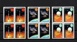DOMINICA - 1975 - SPACE - SATELLITE - METEOROLOGICAL - TIROS ++ 3 X MNH BLOCKS!