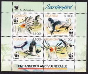 Uganda WWF Secretarybird Miniature Sheet