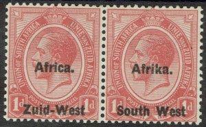 SOUTH WEST AFRICA 1923 KGV SETTING I 1D PAIR ERROR AFRICA ABOVE MNH **  CERT