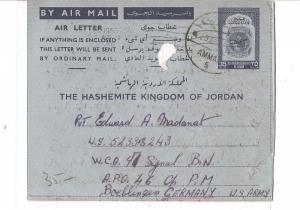 Jordan 35F Aerogramme to US Army base in Germany (bae)