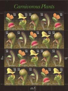 US Stamp - 2001 Carnivorous Plants - 20 Stamp Sheet - Scott #3528-31