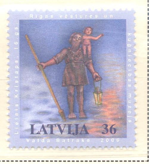 Latvia Sc 655 2006 Big Christopher Statue stamp mint NH