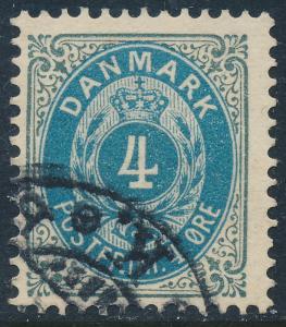 Denmark Scott 42a (AFA 23By), 4ø grey/blue Bicolour, F-VF U