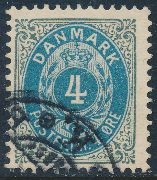 Denmark Scott 42a (AFA 23By), 4ø grey/blue Bicolour, F-VF U