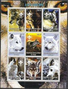 Congo 2004 Wolves Sheet of 9 MNH Cinderella !
