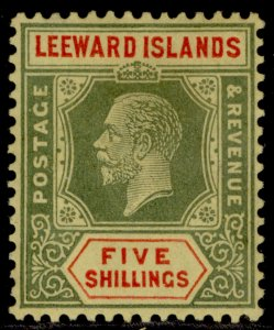 LEEWARD ISLANDS GV SG78, 5s green & red/pale yellow, M MINT. Cat £50.
