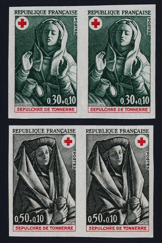 France B471-2 imperf pairs MNH Mary Magdalene, Mourning Woman, Red Cross