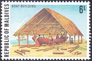 Maldive Islands # 710 mnh ~ 6 l Occupations - Boat Building