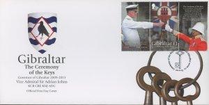 Gibraltar 1413 FDC cover ceremony key lock (2110 167)