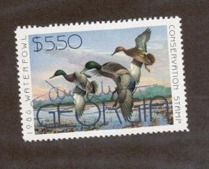 GA2 - Georgia  State Duck Stamp. MNH OG.Artist Signed Single.#02 GA2AS